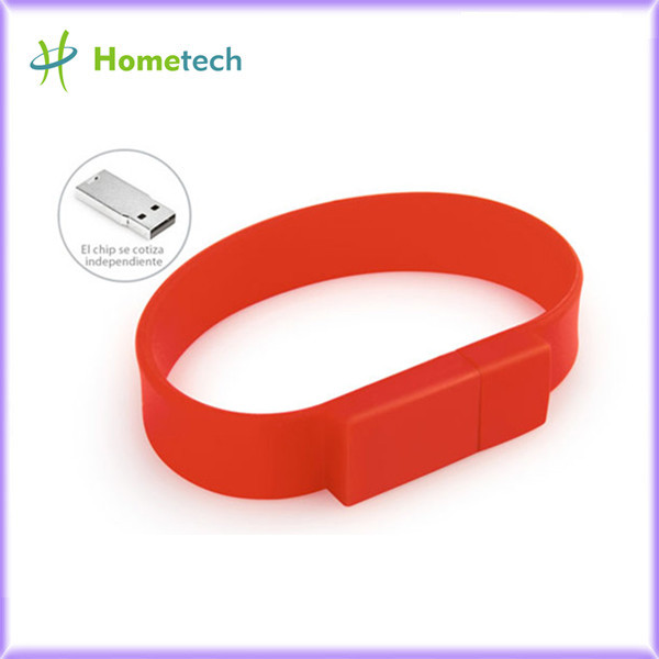 Custom Silicone red color Bracelet Usb Flas