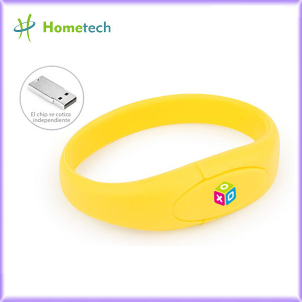 Yellow Wristband Pvc Usb Flash Drive 2-64G